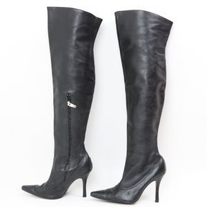 COLIN STUART black leather thigh high boots